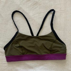 lululemon rise and run green sports bra size 8